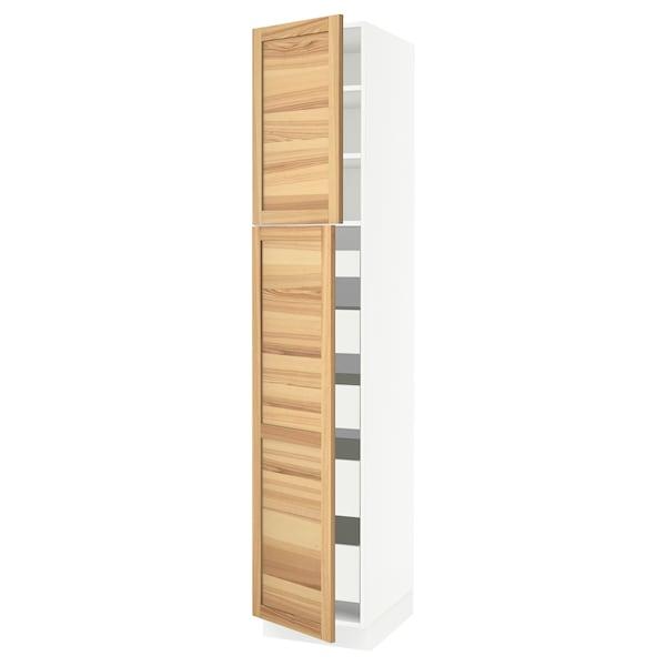 "SEKTION / MAXIMERA High cb w 2 doors/shelves/5 drawers, white/Torhamn ash, 18x24x90 """