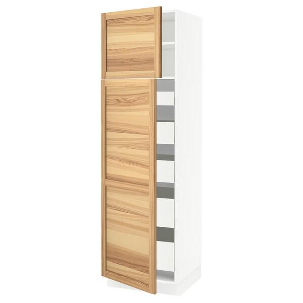 "SEKTION / MAXIMERA High cb w 2 doors/shelves/5 drawers, white/Torhamn ash, 24x24x80 """