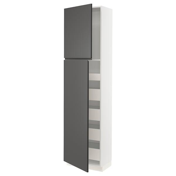 "SEKTION / MAXIMERA High cb w 2 doors/shelves/5 drawers, white/Voxtorp dark gray, 24x15x90 """