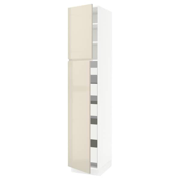 "SEKTION / MAXIMERA High cb w 2 doors/shelves/5 drawers, white/Voxtorp high-gloss light beige, 18x24x90 """