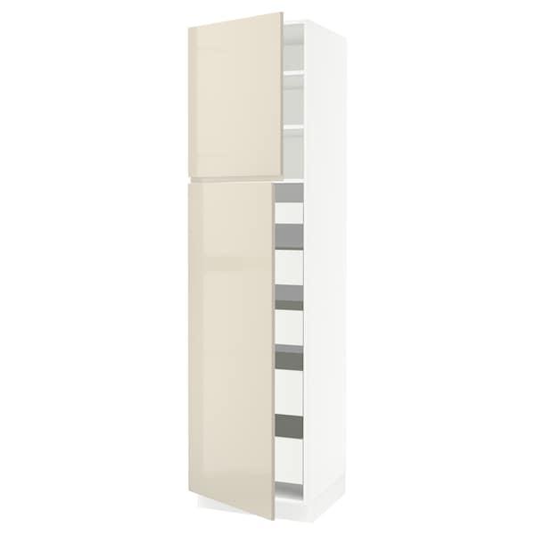 "SEKTION / MAXIMERA High cb w 2 doors/shelves/5 drawers, white/Voxtorp high-gloss light beige, 24x24x90 """