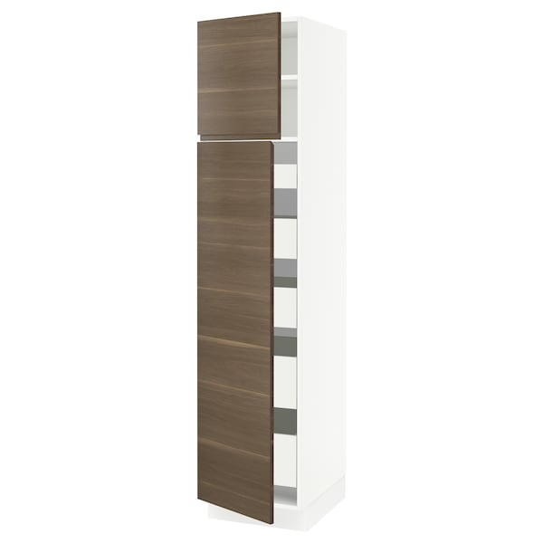 "SEKTION / MAXIMERA High cb w 2 doors/shelves/5 drawers, white/Voxtorp walnut effect, 18x24x80 """
