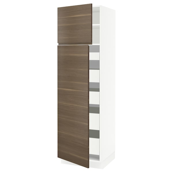 "SEKTION / MAXIMERA High cb w 2 doors/shelves/5 drawers, white/Voxtorp walnut effect, 24x24x80 """