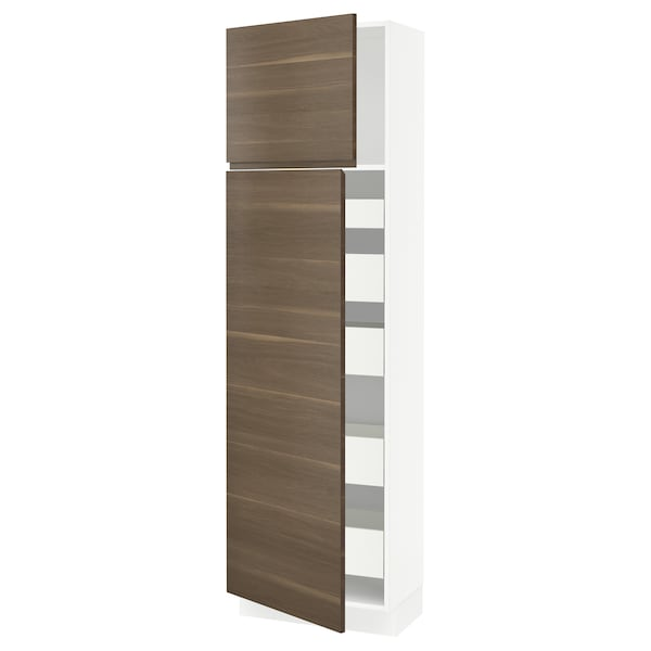SEKTION / MAXIMERA High cb w 2 doors/shelves/5 drawers, white/Voxtorp walnut effect, 24x15x80 ""