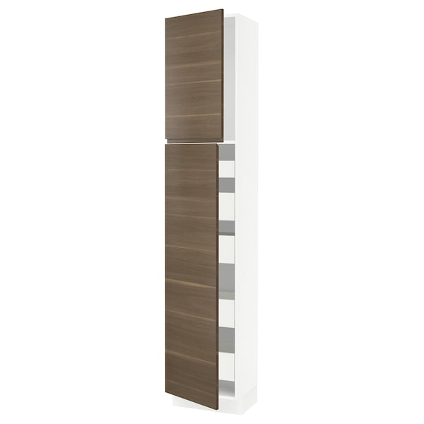SEKTION / MAXIMERA High cb w 2 doors/shelves/5 drawers, white/Voxtorp walnut effect, 18x15x90 ""