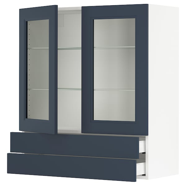 SEKTION / MAXIMERA Wall cab w 2 glass doors/2 drawers, white Axstad/matte blue, 36x15x40 ""