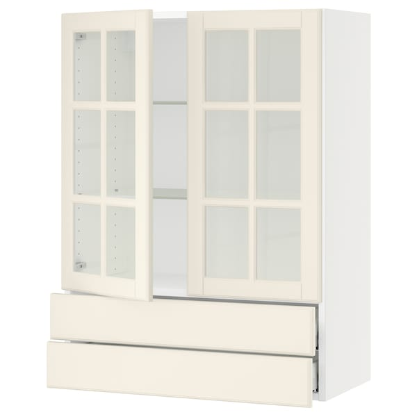 "SEKTION / MAXIMERA Wall cab w 2 glass doors/2 drawers, white/Bodbyn off-white, 30x15x40 """