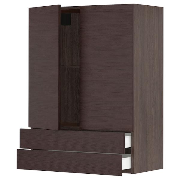 "SEKTION / MAXIMERA Wall cabinet w/2 doors+2 drawers, brown Askersund/dark brown ash effect, 30x15x40 """