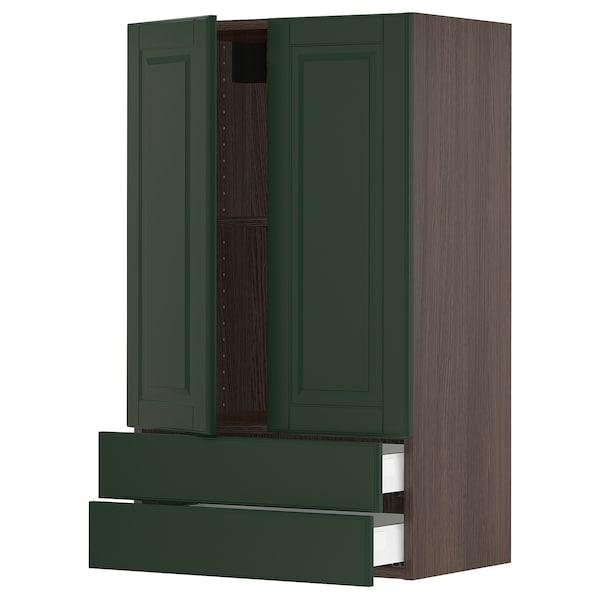 """SEKTION / MAXIMERA Wall cabinet w 2 doors/2 drawers, brown/Bodbyn dark green, 24x15x40 """""""