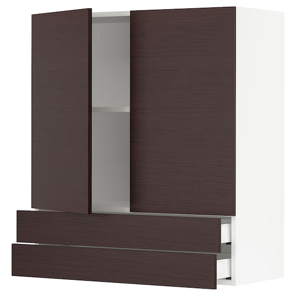 "SEKTION / MAXIMERA Wall cabinet w/2 doors+2 drawers, white Askersund/dark brown ash effect, 36x15x40 """
