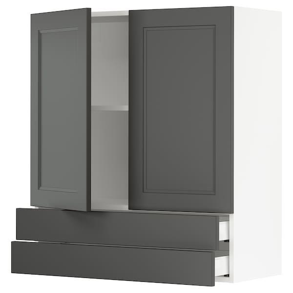 "SEKTION / MAXIMERA Wall cabinet w/2 doors+2 drawers, white/Axstad dark gray, 36x15x40 """