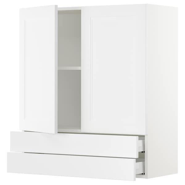"SEKTION / MAXIMERA Wall cabinet w 2 doors/2 drawers, white/Axstad matt white, 36x15x40 """