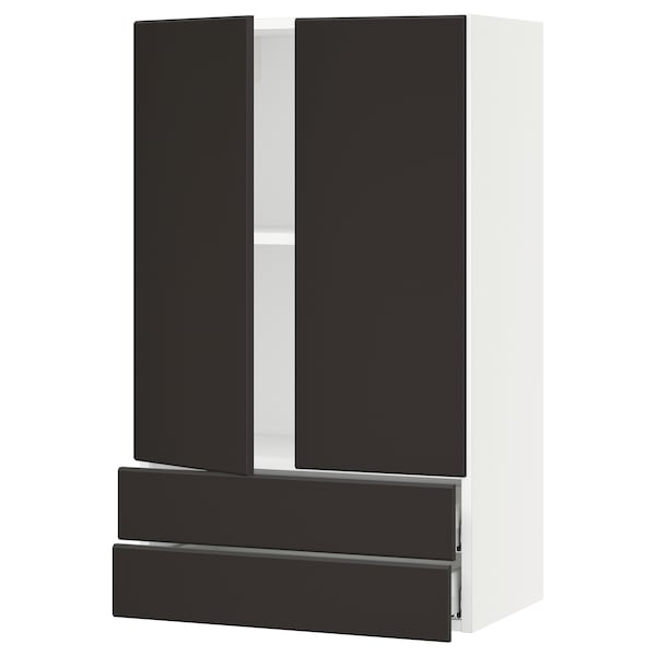 SEKTION / MAXIMERA Wall cabinet w 2 doors/2 drawers, white/Kungsbacka anthracite, 24x15x40 ""