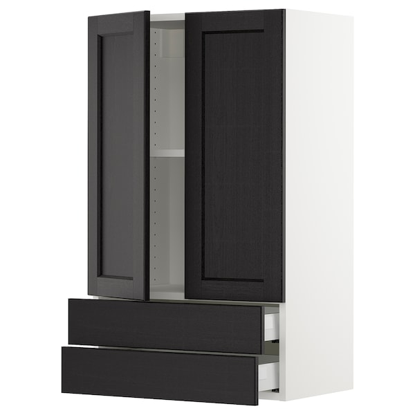 """SEKTION / MAXIMERA Wall cabinet w 2 doors/2 drawers, white/Lerhyttan black stained, 24x15x40 """""""