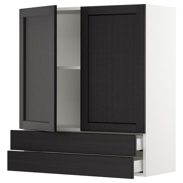 """SEKTION / MAXIMERA Wall cabinet w 2 doors/2 drawers, white/Lerhyttan black stained, 36x15x40 """""""
