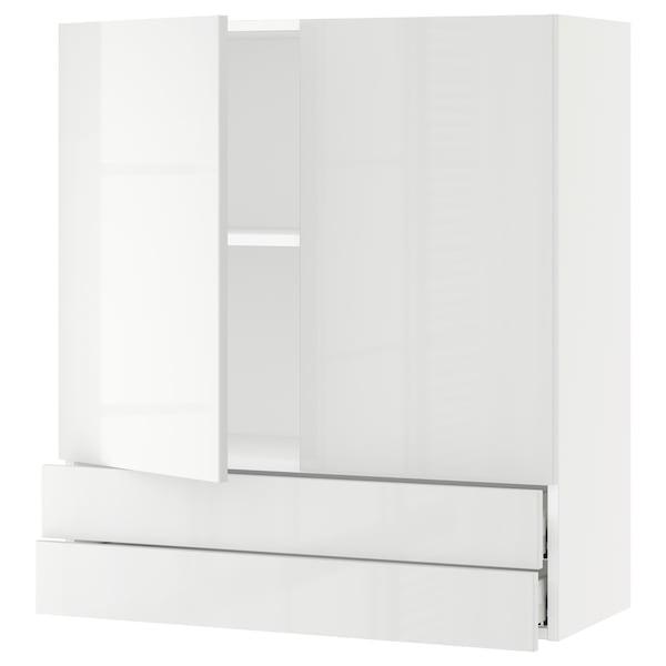 "SEKTION / MAXIMERA Wall cabinet w 2 doors/2 drawers, white/Ringhult white, 36x15x40 """