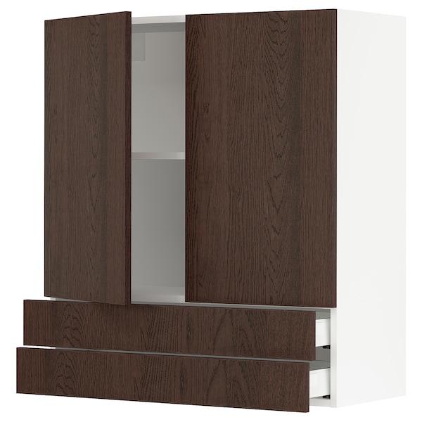 "SEKTION / MAXIMERA Wall cabinet w 2 doors/2 drawers, white/Sinarp brown, 36x15x40 """