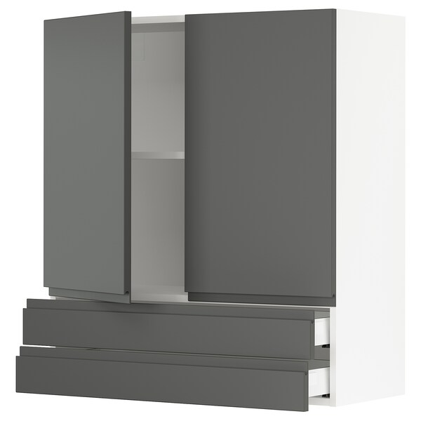 SEKTION / MAXIMERA Wall cabinet w 2 doors/2 drawers, white/Voxtorp dark gray, 36x15x40 ""
