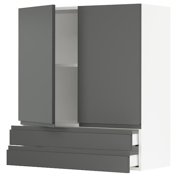 "SEKTION / MAXIMERA Wall cabinet w 2 doors/2 drawers, white/Voxtorp dark gray, 36x15x40 """