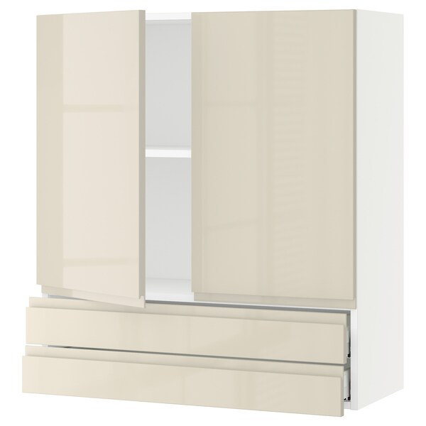 SEKTION / MAXIMERA Wall cabinet w 2 doors/2 drawers, white/Voxtorp high-gloss light beige, 36x15x40 ""