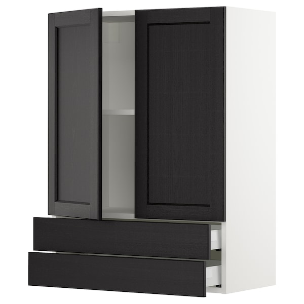 "SEKTION / MAXIMERA wall cabinet w 2 doors/2 drawers white/Lerhyttan black stained 30 "" 15 "" 15 1/2 "" 40 """