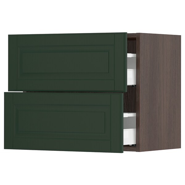 "SEKTION / MAXIMERA Wall cabinet with 2 drawers, brown/Bodbyn dark green, 24x15x20 """