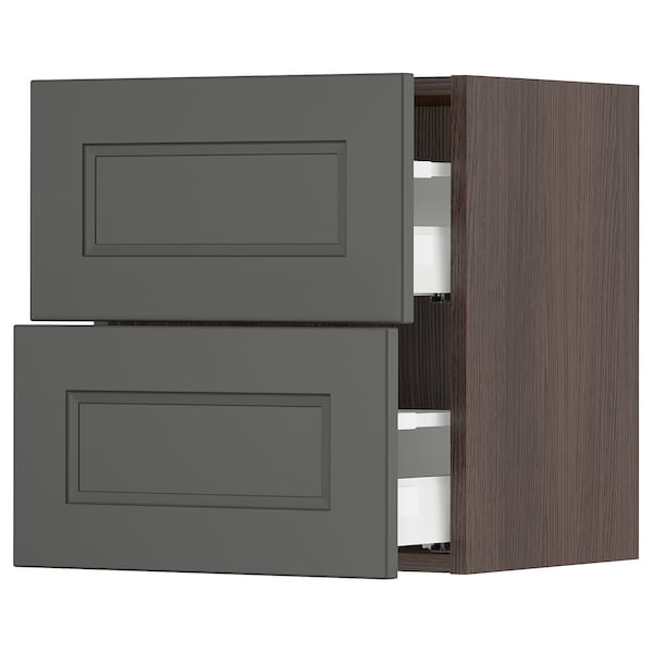 "SEKTION / MAXIMERA wall cabinet with 2 drawers brown/Axstad dark gray 18 "" 15 1/2 "" 15 "" 20 """