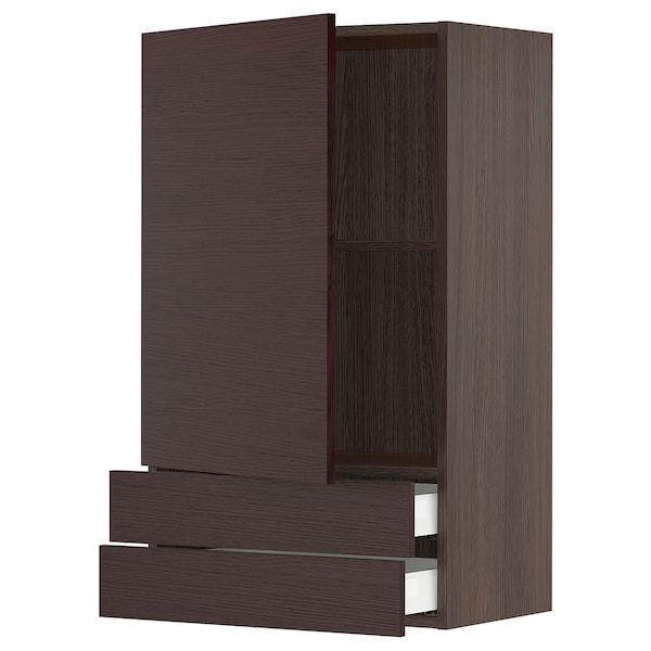 "SEKTION / MAXIMERA Wall cabinet with door & 2 drawers, brown Askersund/dark brown ash effect, 24x15x40 """