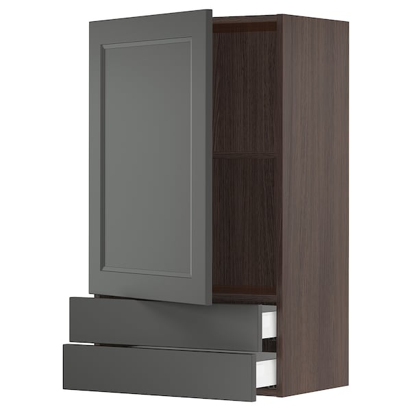 SEKTION / MAXIMERA Wall cabinet with door & 2 drawers, brown/Axstad dark gray, 24x15x40 ""