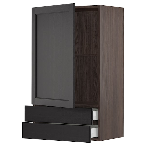"""SEKTION / MAXIMERA Wall cabinet with door/2 drawers, brown/Lerhyttan black stained, 24x15x40 """""""