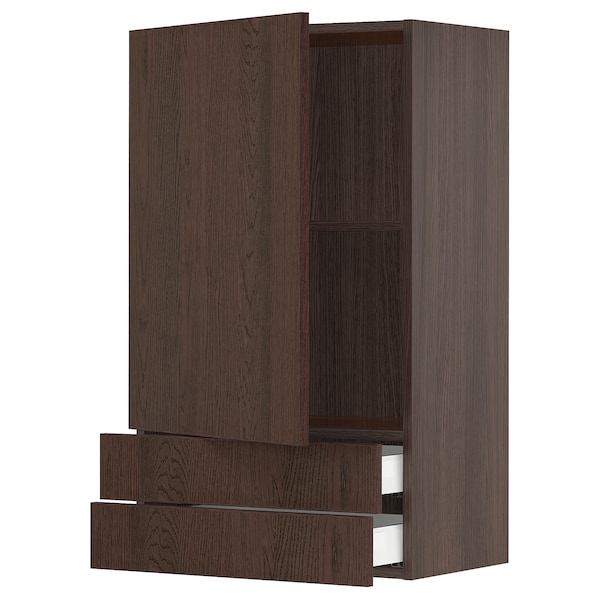"""SEKTION / MAXIMERA Wall cabinet with door/2 drawers, brown/Sinarp brown, 24x15x40 """""""