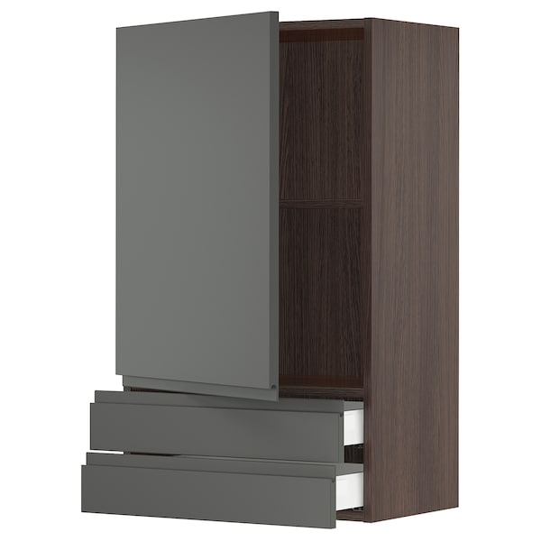SEKTION / MAXIMERA Wall cabinet with door/2 drawers, brown/Voxtorp dark gray, 24x15x40 ""