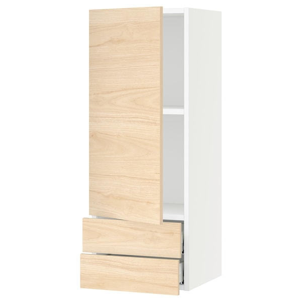 """SEKTION / MAXIMERA Wall cabinet with door/2 drawers, white/Askersund light ash effect, 15x15x40 """""""