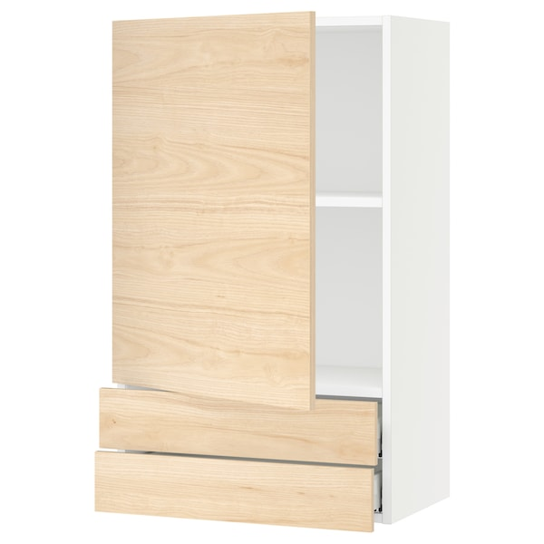 """SEKTION / MAXIMERA Wall cabinet with door/2 drawers, white/Askersund light ash effect, 24x15x40 """""""