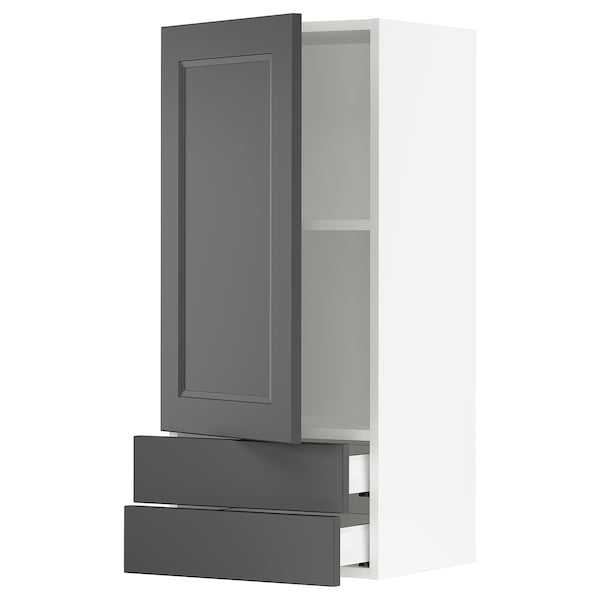 SEKTION / MAXIMERA Wall cabinet with door & 2 drawers, white/Axstad dark gray, 18x15x40 ""