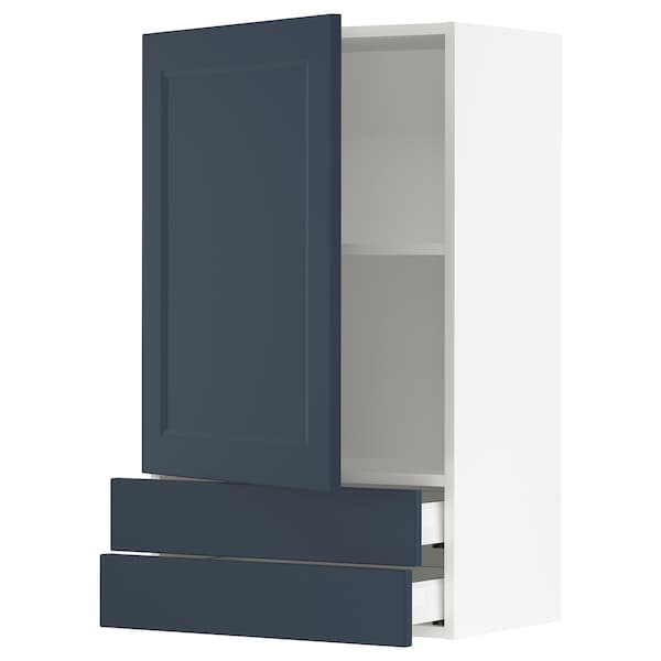 """SEKTION / MAXIMERA Wall cabinet with door/2 drawers, white Axstad/matte blue, 24x15x40 """""""