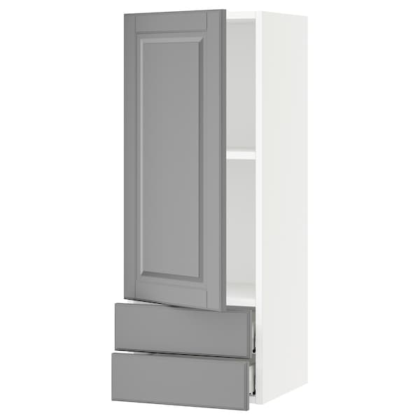 SEKTION / MAXIMERA Wall cabinet with door/2 drawers, white/Bodbyn gray, 15x15x40 ""