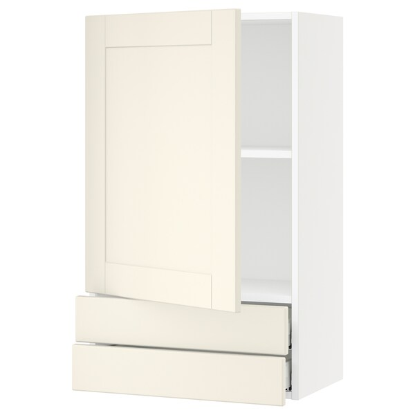 """SEKTION / MAXIMERA Wall cabinet with door/2 drawers, white/Grimslöv off-white, 24x15x40 """""""