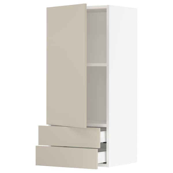 """SEKTION / MAXIMERA Wall cabinet with door/2 drawers, white/Havstorp beige, 18x15x40 """""""