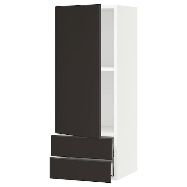"""SEKTION / MAXIMERA Wall cabinet with door/2 drawers, white/Kungsbacka anthracite, 15x15x40 """""""