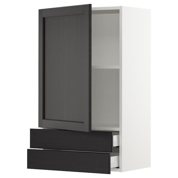 """SEKTION / MAXIMERA Wall cabinet with door/2 drawers, white/Lerhyttan black stained, 24x15x40 """""""
