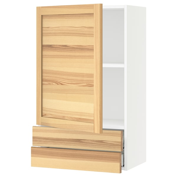 SEKTION / MAXIMERA Wall cabinet with door/2 drawers, white/Torhamn ash, 24x15x40 ""