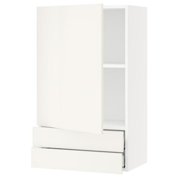 "SEKTION / MAXIMERA Wall cabinet with door/2 drawers, white/Veddinge white, 24x15x40 """
