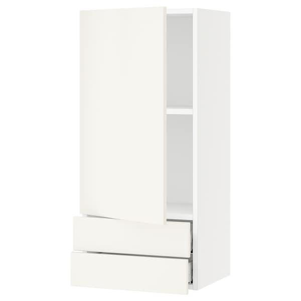 "SEKTION / MAXIMERA Wall cabinet with door/2 drawers, white/Veddinge white, 18x15x40 """