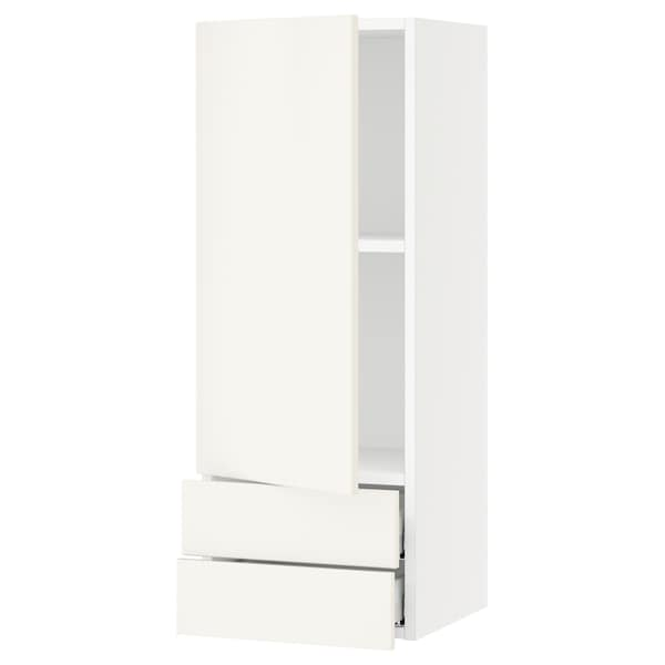 SEKTION / MAXIMERA Wall cabinet with door/2 drawers, white/Veddinge white, 15x15x40 ""