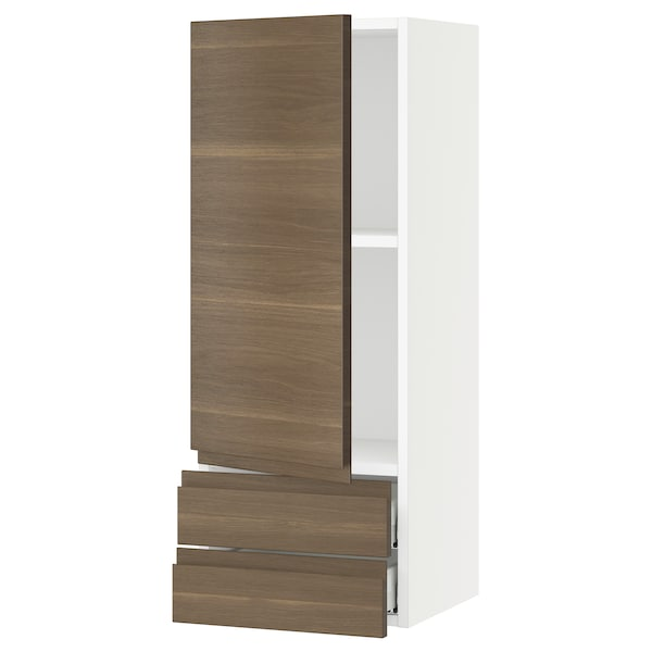 SEKTION / MAXIMERA Wall cabinet with door/2 drawers, white/Voxtorp walnut effect, 15x15x40 ""