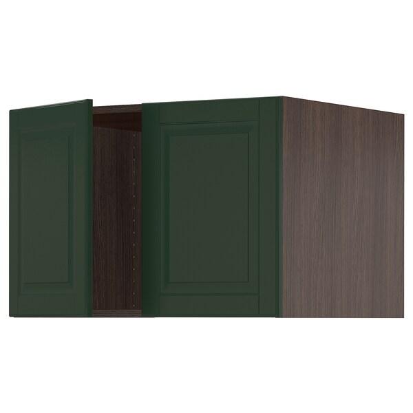 """SEKTION Top cab f fridge/freezer w 2 doors, brown/Bodbyn dark green, 30x24x20 """""""
