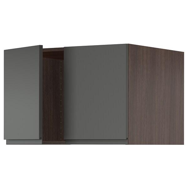 "SEKTION Top cab f fridge/freezer w 2 doors, brown/Voxtorp dark gray, 30x24x20 """