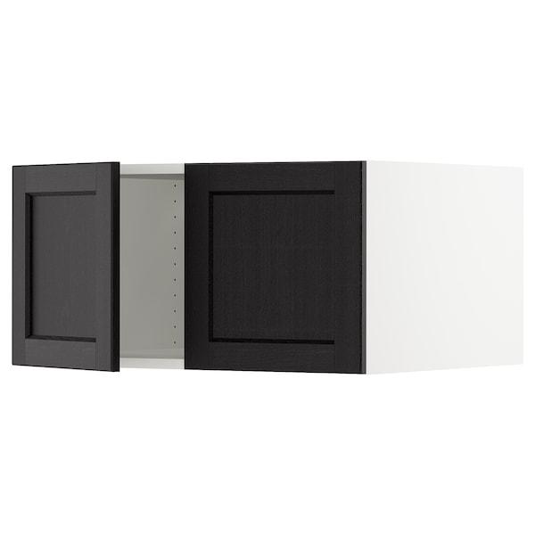 "SEKTION Top cab f fridge/freezer w 2 doors, white/Lerhyttan black stained, 30x24x15 """
