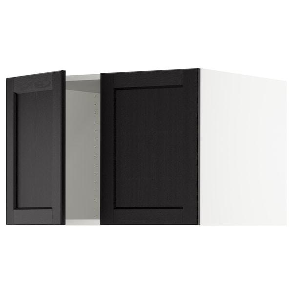 "SEKTION Top cab f fridge/freezer w 2 doors, white/Lerhyttan black stained, 30x24x20 """